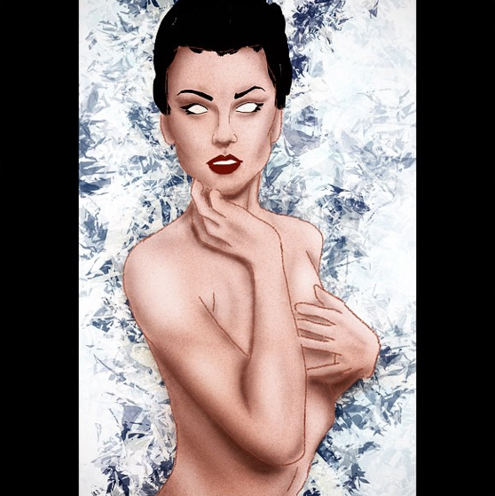 A color female nude sketch done in Procreate on iPhone 6 Plus.