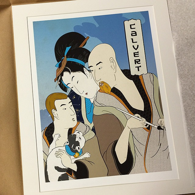 Ukiyo-e portrait of the family - cat included.