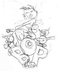 Thumbnail sketch for the 50s Bee art piece.